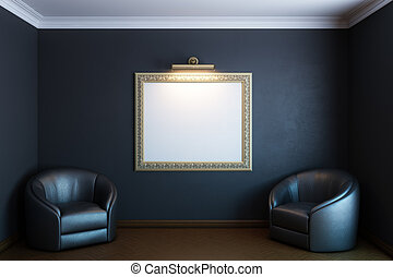 black gallery room with classic blank frame and armchairs