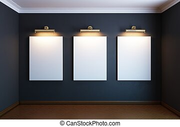 gallery interior with golden frames and lighters (black...