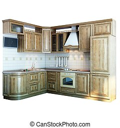 wood kitchen closeup (isolated on white version)