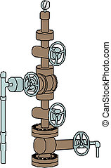 oil steel pipeline with valves