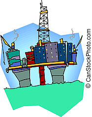 Oil drilling rig, vector illustration