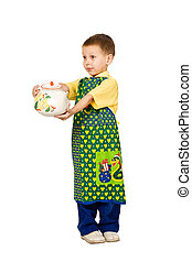 scullion - portret of little boy with big teapot and apron