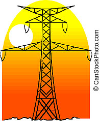 High voltage power pole line vector