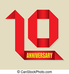 10 years anniversary ribbon, vector - The abstract of 10...