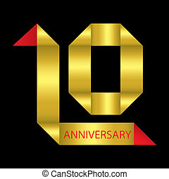 10 years anniversary ribbon, vector