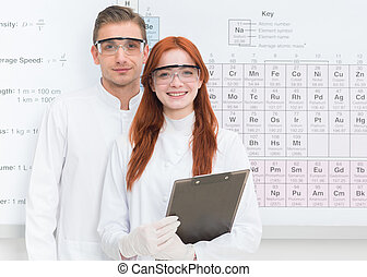 happy scientists - close-up of young caucasian man and woman...