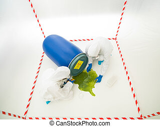 biohazard accident - upper view of two specialists measuring...