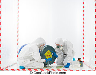 taking samples bihazard accident - specialists collecting...