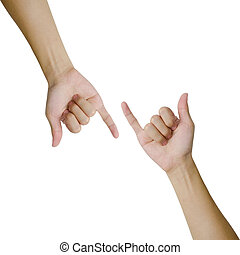 Isolated hands making promise as a friendship concept