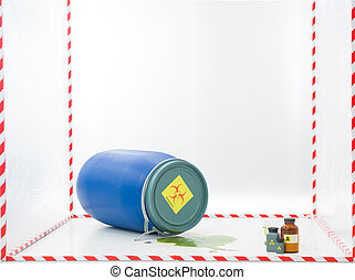 contamination - blue barrel with biohazard label and a...