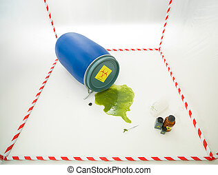 environmental threat - upper view of toxic waste spilling...