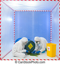 contamination risk - specialists wearind white protection...