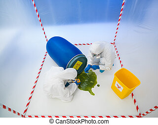 biohazard disaster - upper view of two specialists wearind...