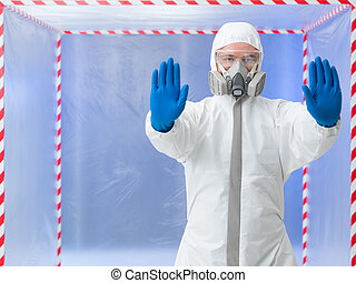 quarantine, specialist with stop gesture - close-up of man...