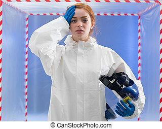 agotado, o, infected, biohazard, científico