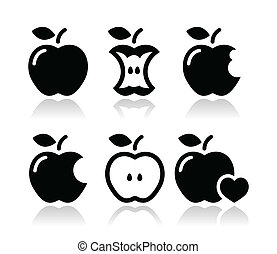 Apple, apple core, bitten icons - Black icons set of apples...