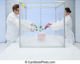experimenting with biological matter in sterile chamber