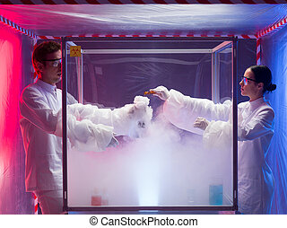 steamy reactions in sterile chamber - two scientists, a man...