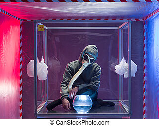 person confined inside a glass box - a person inside a...