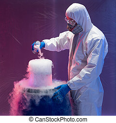 scientist creating steaming chemical reactions - person in a...