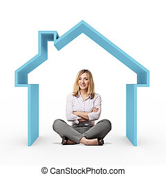 my house - smiling woman and 3d house