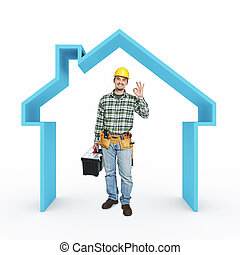 house repair - smiling handyman and 3d house