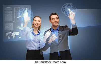 two business people working with virtual screen - picture of...