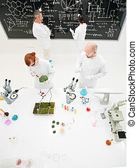 Scientists working in a laboratory - Aerial view of a group...
