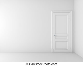 empty white interior with door