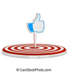 3d red  target with  like sign