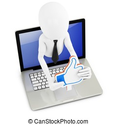 3d man businessman with like sign
