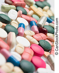 Variety of colorful prescription drugs - Close-up of many...