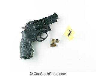 arma de fuego, bala, cubierta, evidencia