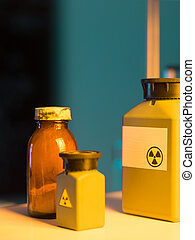 toxic waste containers - close-up of toxic waste containers...