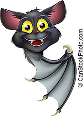 Halloween Bat Pointing - A happy cartoon black bat, perhaps...