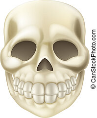 Cartoon Halloween Scull - An illustration of a cute smiling...