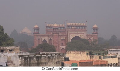 day smog and mist in Agra city, India
