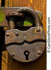 door lock - macro picture of door lock, closed door