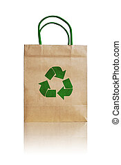 brown shopping bag with recycle symbol