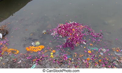flowers after ritual in Ganges - flowers after ritual in...