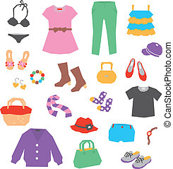 Womens clothing and accessories, vector
