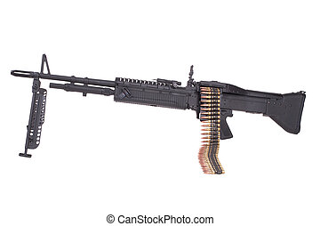 M60 machine gun with ammo belt isolated on white
