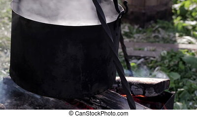 Steel vat with boiling water 2 - Steel vat with boiling...