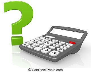 Calculator and question mark - Hi-res original 3d-rendered...