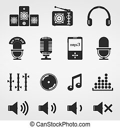 Sound and Music Icons Set - Sound and music, icons set,...