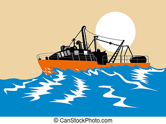 Fishing boat battling stormy seas - Illustration on marine...