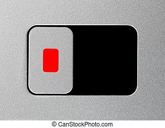 Silver unlock slider, locked position