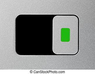 Silver unlock slider, unlocked position