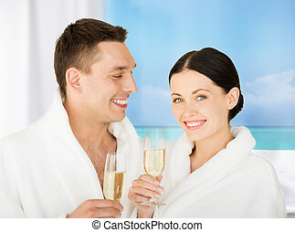 couple in spa - picture of couple in spa salon in white...