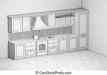 Rough Draft Of Classic Kitchen